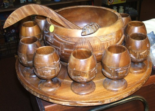 wooden punch bowl set
