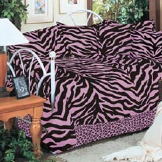 Pink & Black Zebra Daybed Bedding