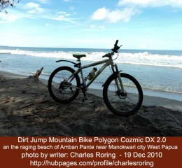 I used this Polygon Cozmic DX 2.0 to travel along the north coast of Manokwari on 19 December 2010