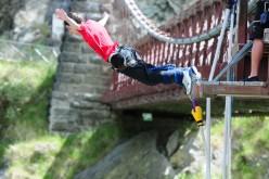 Bungee jumping in Queenstown, New Zealand.
