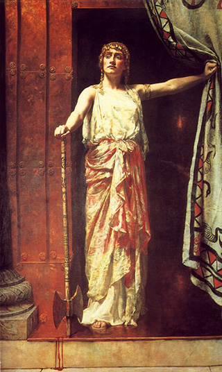 Clytemnestra wearing a lot of Agamemnon on her dress. Now I wouldn't mess with this Lady... No way!