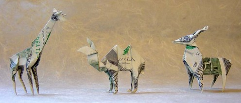 Animal Origami made from paper money