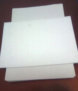 Standard size sheets of typing paper