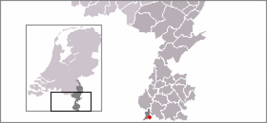 Map location of Mesch in Limburg province of The Netherlands