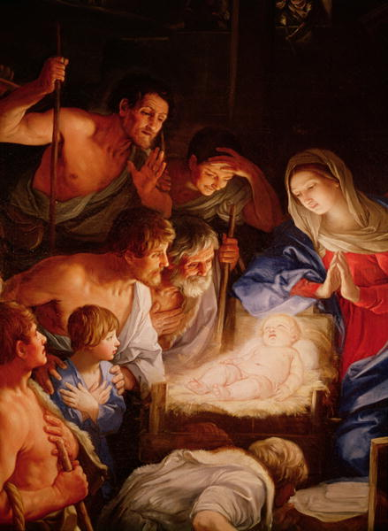 Shepherds Adoration of Baby Jesus - by Guido Reni (17th century)