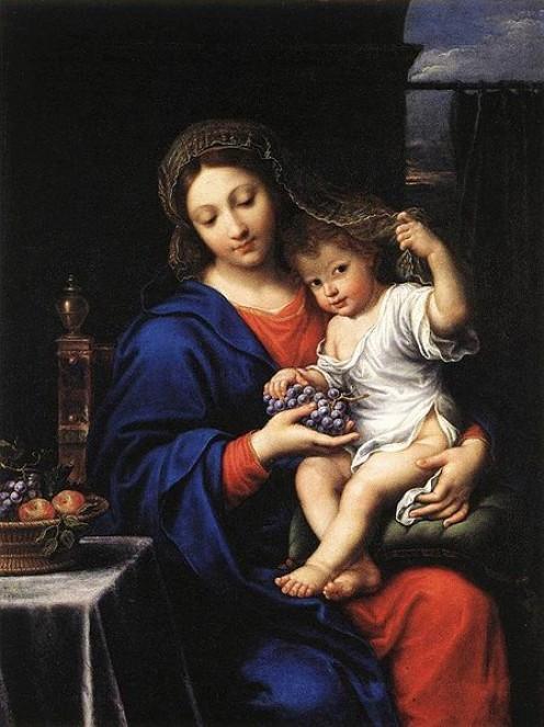 Baby Jesus with Mary - by Mignard