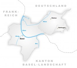 Map showing the City of Basel's location on the Rhine, bordering France and Germany
