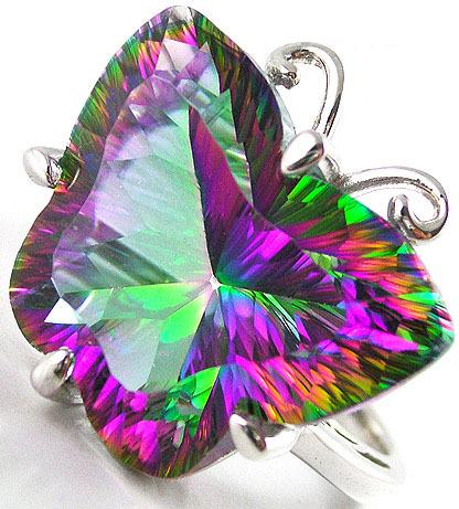 Genuine Mystic Topaz Ring Sterling Silver Butterfly
