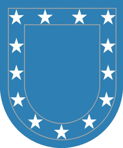 November 2000-approved US Army Flash: Blue background  a symbol of the United States flag and the thirteen stars represent the original colonies.