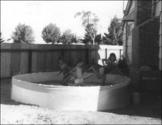 My younger sisters in the swimming pool on Christmas Day in 1967 Lamaroo Australia