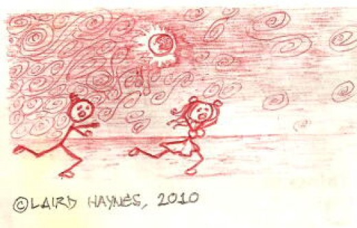'The Chase',  ink on paper,  by L. R. Haynes.