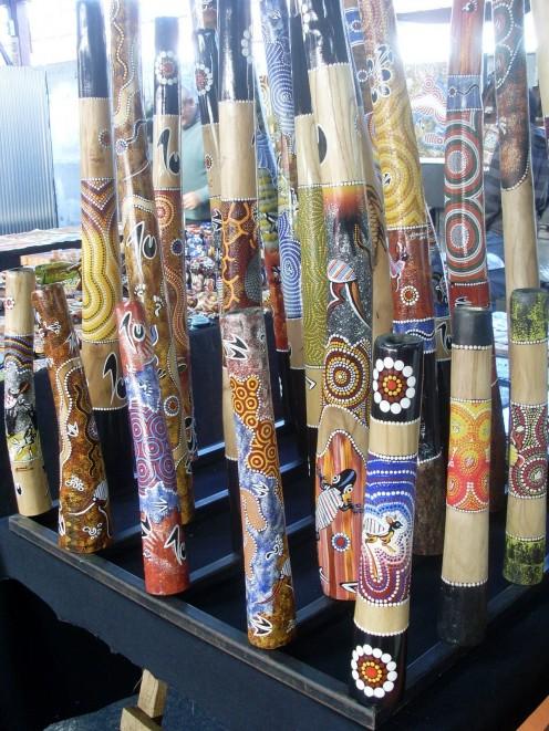 Didgeridoos with aboriginal decorations.