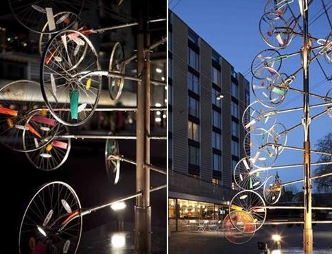 There is also a sustainable Christmas tree made out of recycled bicycle parts in Bermondsey square, London.