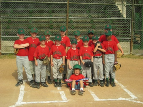 THE 2008 DRAGONS: Up Front: Max (Our Bat Boy): Row One: Walden, Spencer, Ben, Chase, Jack, Eli, Cameron. Back Row: Kyle, Dawson, Hayden, Jacob, Daniel, Corben