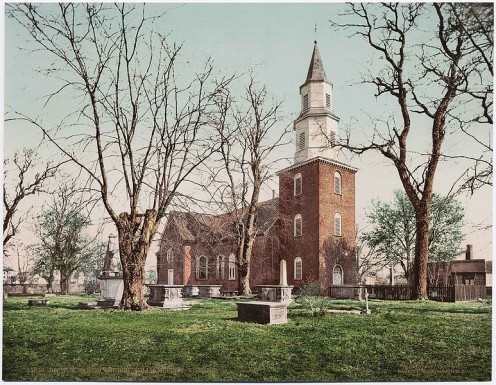 Bruton Parish Church, Williamsburg. Historic church and cemetery pictured on a postcard from around 1900.