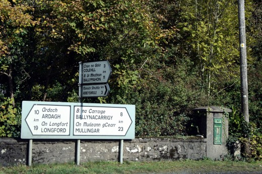 Bilingual signposts near Longford