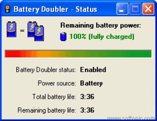 screen shot of battery doubler
