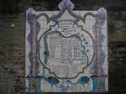 Old tile map of Colonia del Sacramento, 1762