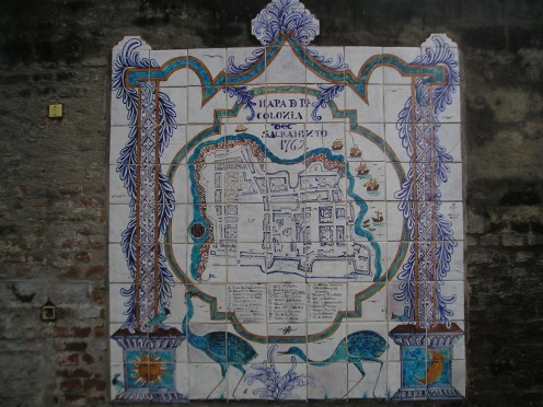 Old tile map of Colonia del Sacramento, 1762