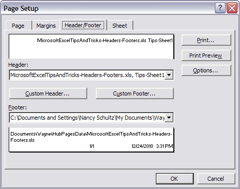 Microsoft Excel Page Setup: Headers And Footers Completed. *Click to see larger image*