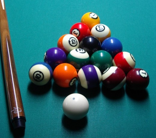 The 15 balls, plus cue ball, ready for the game of 8 ball.