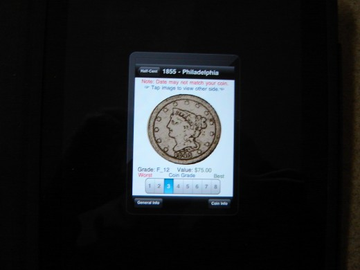 iCoins app showing braided hair half cent.