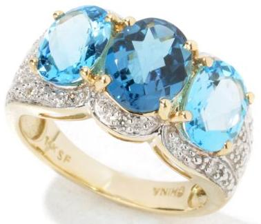 London Blue Topaz & Swiss Blue Topaz with Diamond Ring