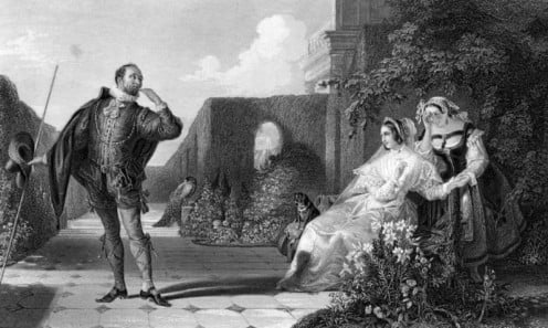 This image is in public domain because it is more than 100 years old.-after a painting by Daniel Maclise (1806-1870) relating to a scene from Twelfth Night. http://en.wikipedia.org/wiki/12th_night