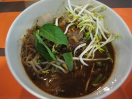 Beef with rice noodles in beef broth