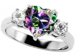 heart shaped mystic topaz ring