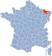 Map position of Moselle Department, where Audun-le-Tiche is situated