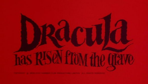 The opening titles of Dracula Has Risen from the Grave (1968) give some clue of the gore that is to follow.