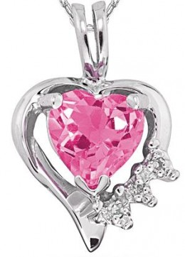 Heart Shaped Pink Topaz and Diamond Pendant Sterling Silver