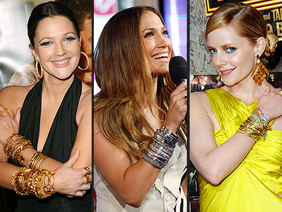 Three celebrities wearing bold bangles