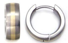 Titanium 14K Gold Inlay Huggie Hoop Earrings