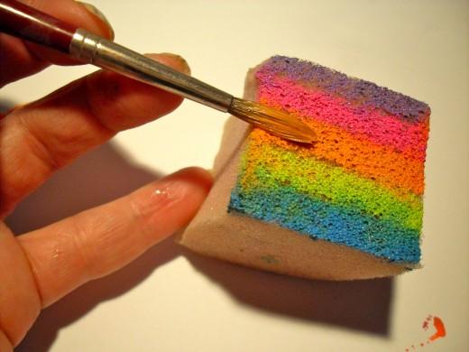 Making a rainbow sponge