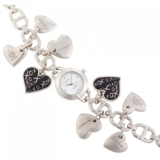 Silver Heart Charms Watch