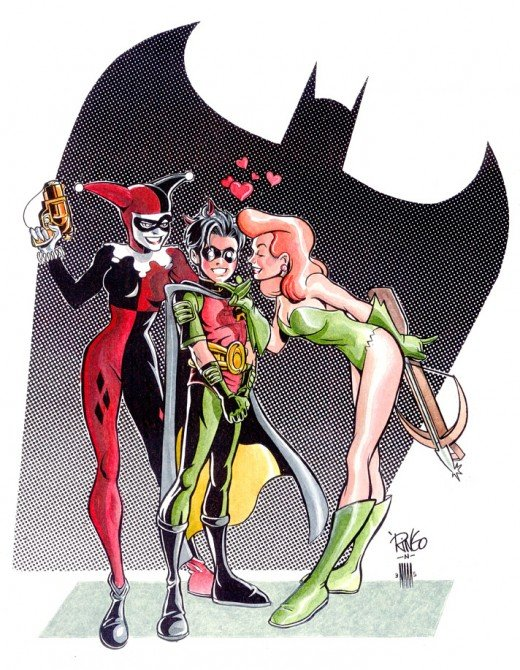A gorgeous image created by the late Mike Wieringo of Harley and Poison Ivy with Tim.
