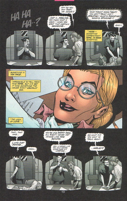 "A panel from ""Batman"" explaining a small portion of Harley's backstory"