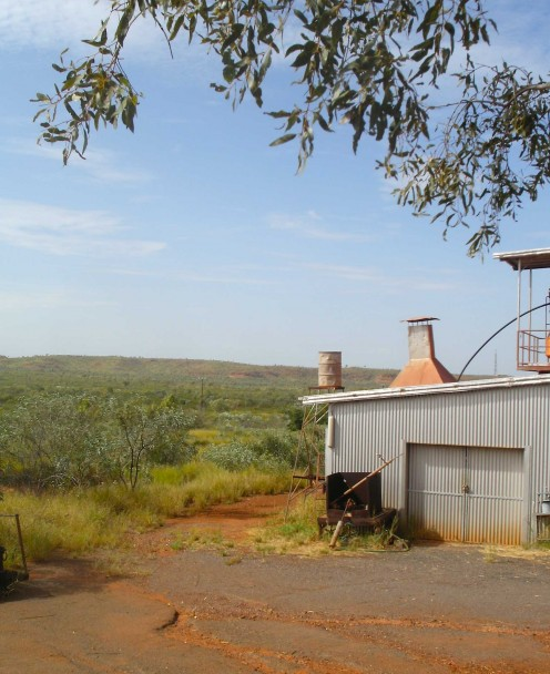 Outback landscape with that symbol of Aussie civilisation - corrugated iron