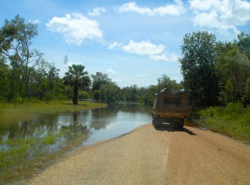 End of the road at The swollen Roper River