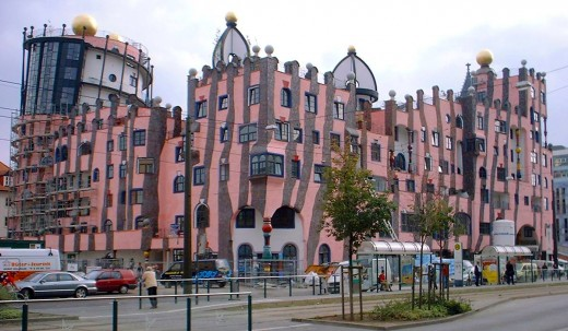 Die Grne Zitadelle - most of the building is residential - Magdeburg, Germany