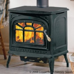 "Copperfield 57240 1100CP Small Wood Stove Painted Black, With Door, 9 1/4""legs, and Ash Pan"