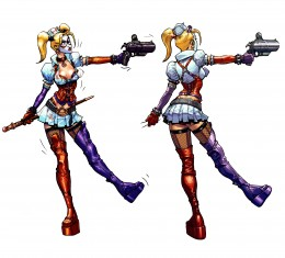 "The reimagined ""Nurse"" Harley designed, as viewed throughout ""Batman: Arkham Asylum"""