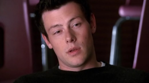 A very tired Finn falling asleep during Glee rehearsal