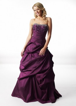 Purple Long Strapless Dress with Bow TPD095 [TPD095] - $130.50