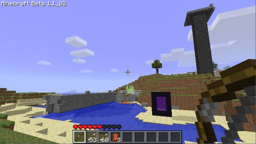 Current work. Bridge on the left, Main base in mountain. That purple thing is a Portal to the Nether... Not working yet in Multiplayer!