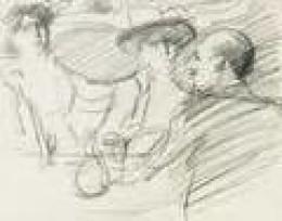 Cafe society sketch in pencil
