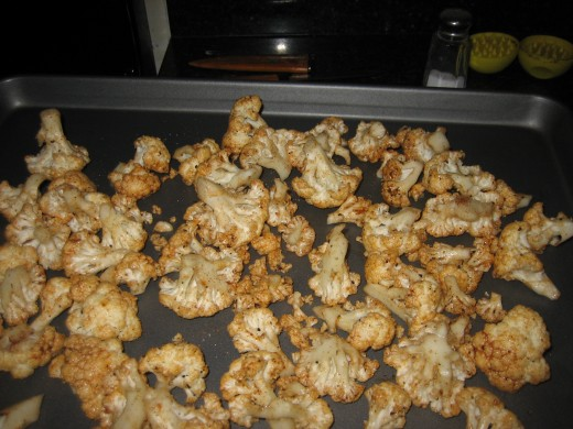 The cauliflower candy as it comes out of the oven, prior to serving.