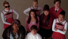 All the Glee kids waiting underneath the clock...